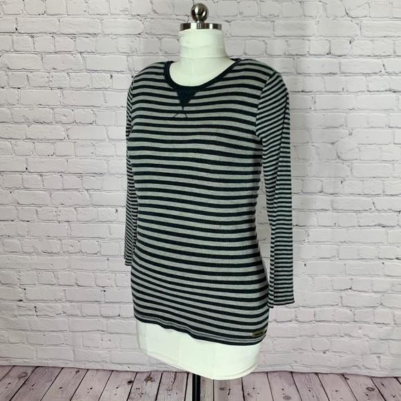 Calvin Klein Tops - Calvin Klein Gray Striped Henley 3/4 Sleeve Tee XL